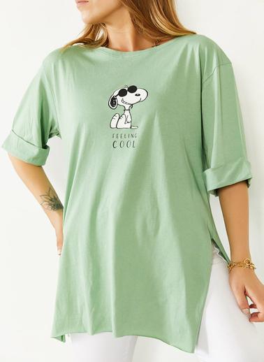 XHAN Mint Önü & Arkası Baskılı Yırtmaçlı Boyfriend Tişört 0Yxk1-43904-58 Yeşil